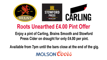 Roots Unearthed £4 a pint beer logo
